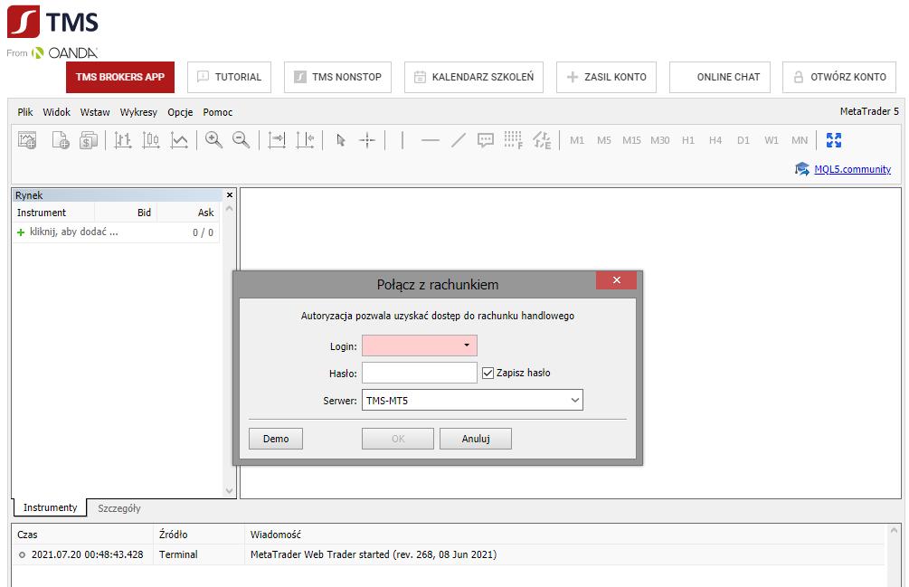 tms_platforma przeglądarkowa_panel logowania